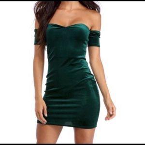 Hunter green off shoulder mini dress
